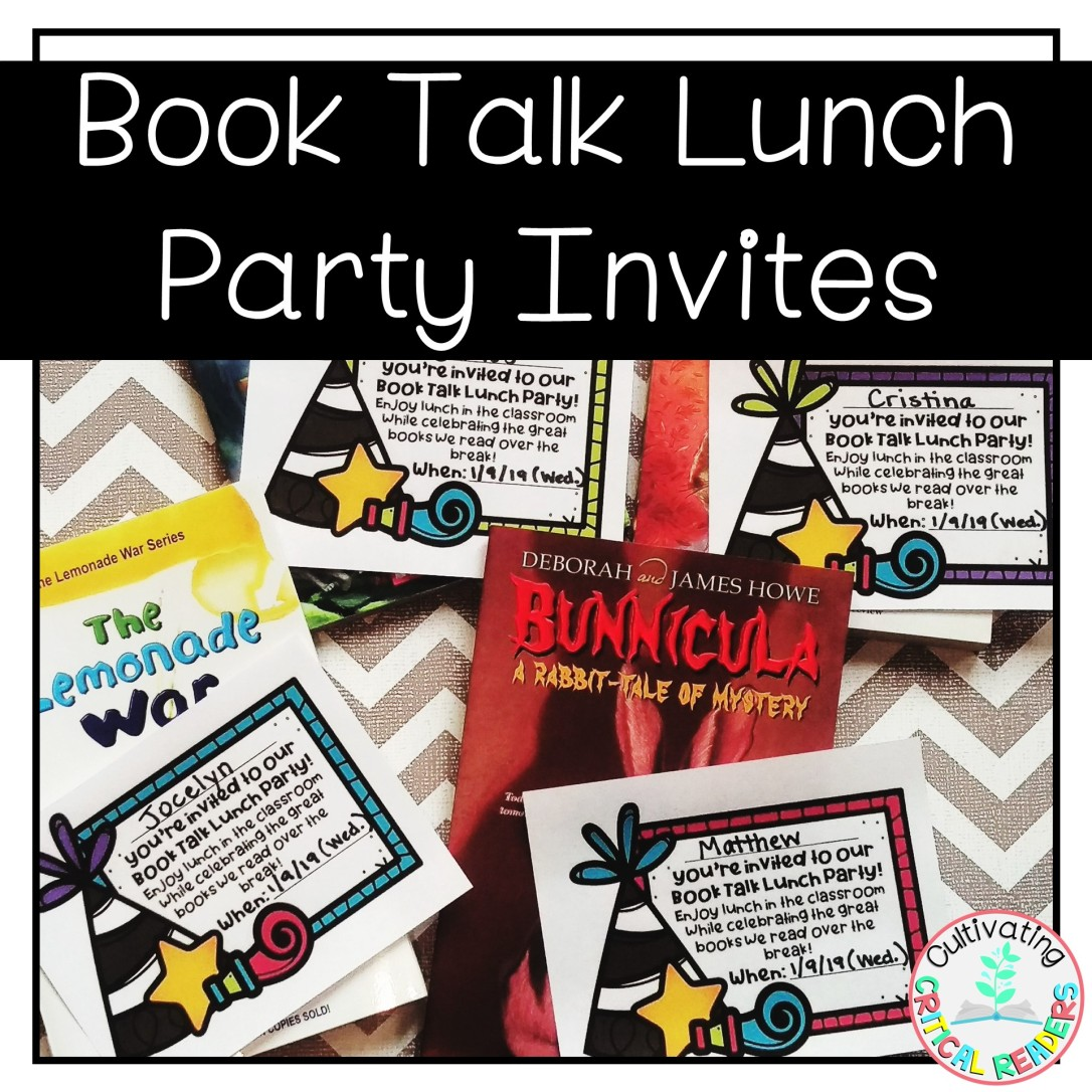 Book Talk Lunch Party Invites