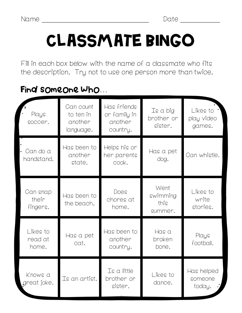 Back to School Game Classmate Bingo