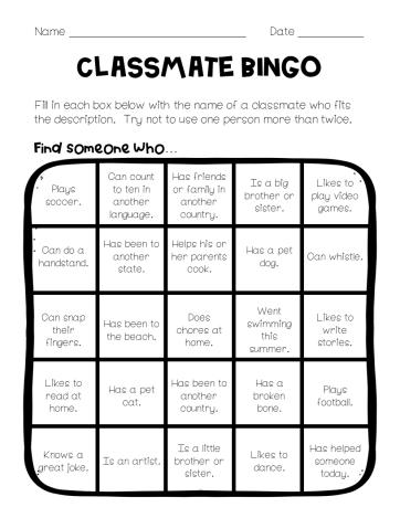 Back to School Game Classmate Bingo