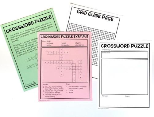 Vocabulary Crossword Puzzle
